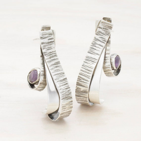 Handmade silver amethyst earrings with texture, dangle earrings with gemstones
