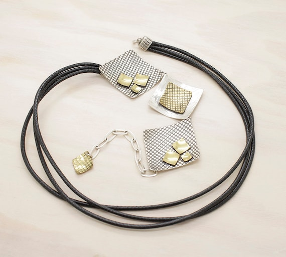 Handmade silver necklace with texture and golden pieces,  minimal  choker with square parts