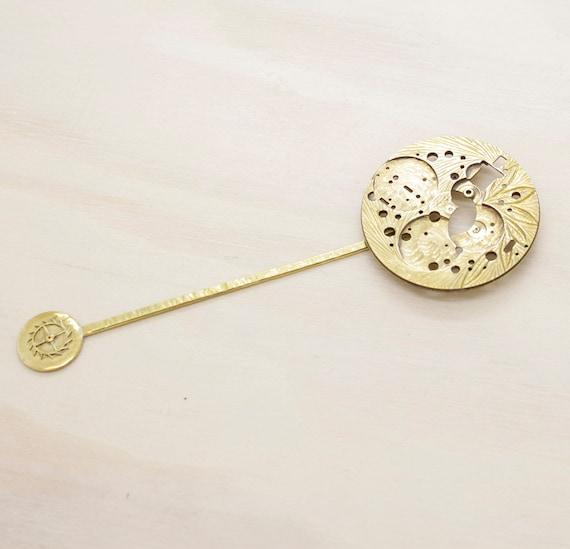 Handmade vintage watch part book mark, metal book mark with vintage engraved  watch part