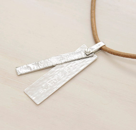 Handmade silver minimal  men's necklace with leather thread and texture, man necklace with custom engraved