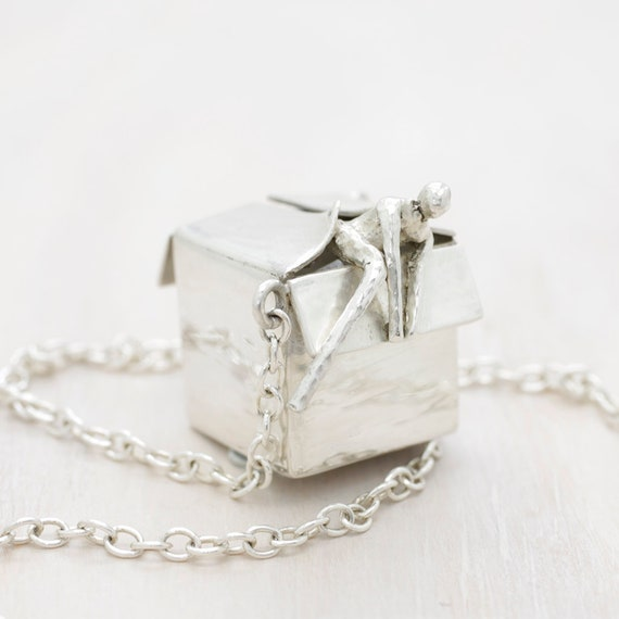 Handmade silver long necklace with box miniature pendant, long chain necklace with a little man miniature figure, Humaniature collection