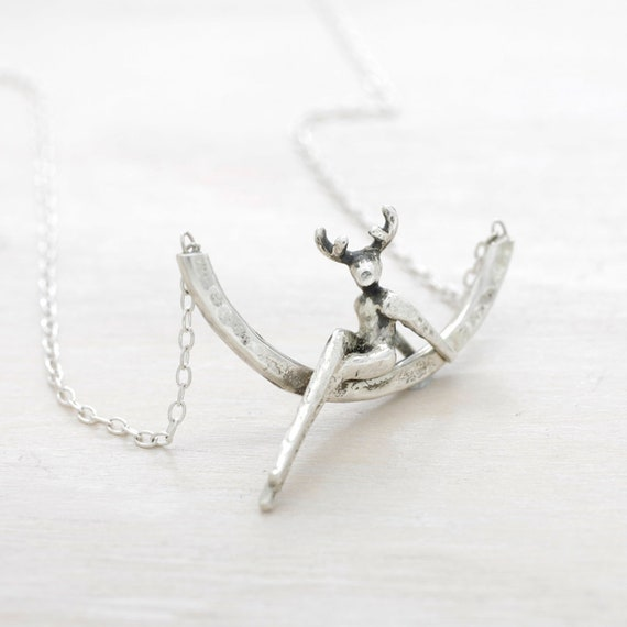 Handmade silver dainty animal necklace with chain, minimal  deer necklace with texture and miniature figure pendant ,ZOOMANITY collection