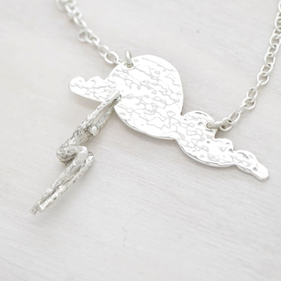 Handmade silver cloud necklace with chain. long necklace with cloud pendant and miniature figure, Humaniature collection