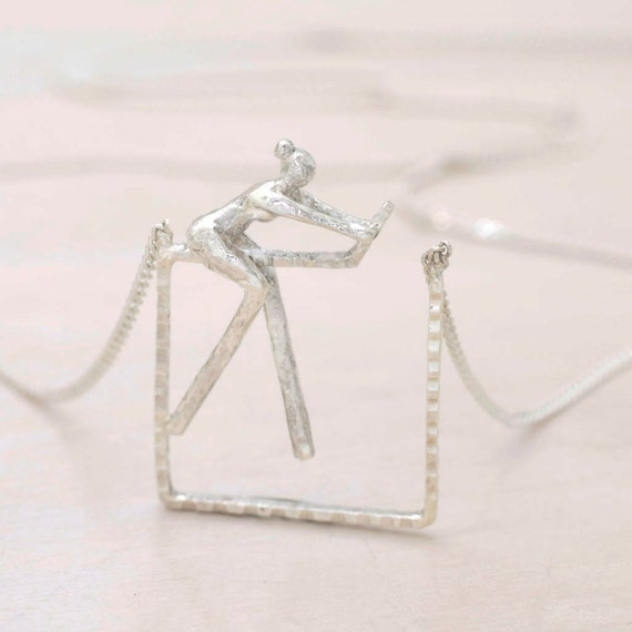 Handmade silver square little woman feminist necklace square with chain, dainty necklace woman figure pendant, Femaliture collection