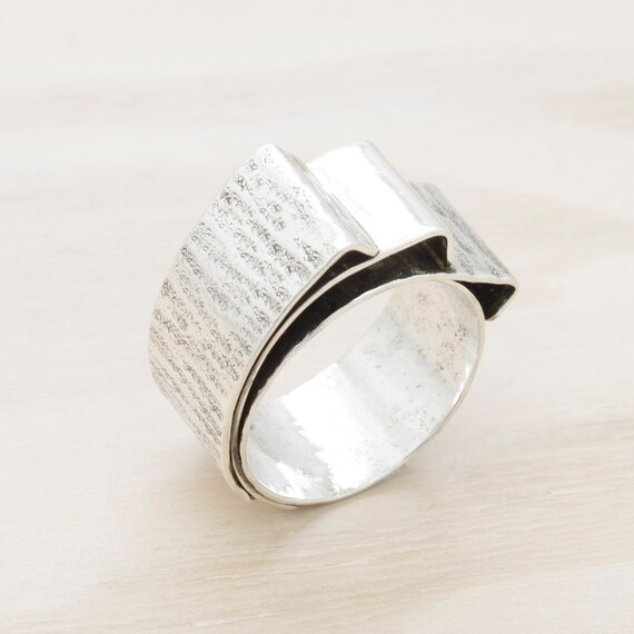 Handmade silver wide ring with texture, minimal  ring with hammered texture