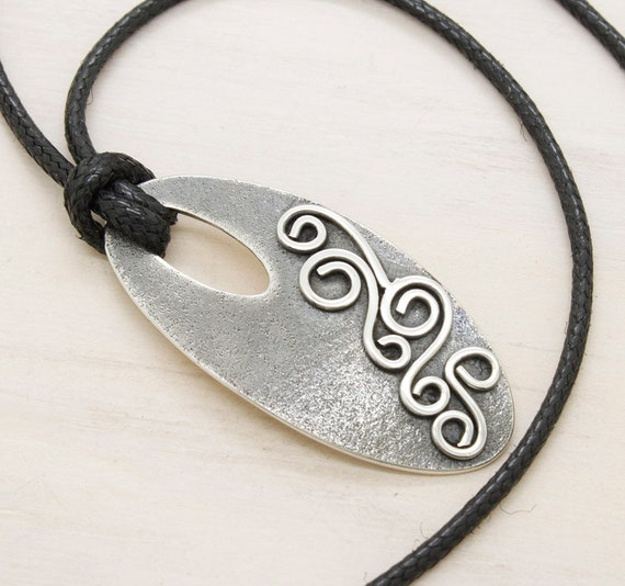 Handmade silver oval necklace with filigree and cotton thread, aged minimal  necklace with texture