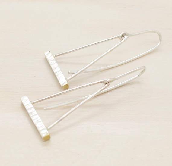 Gold handmade silver minimal  dangle earrings with gold, minimal  earrings triangular with texture and 14k gold
