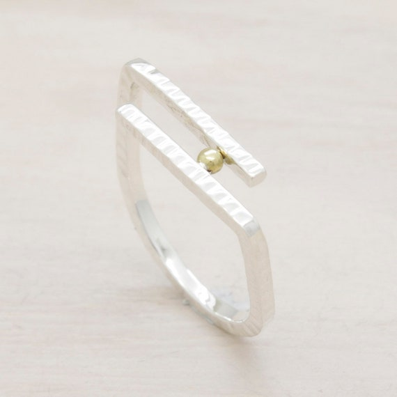 Handmade silver minimal  ring with texture and golden bead sphere, double bar ring