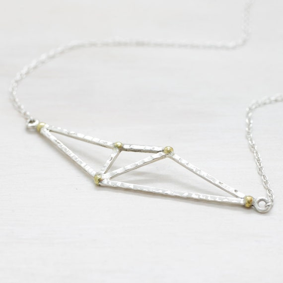 Handmade silver geometric minimal  necklace with chain, dainty necklace with texture and pendant with golden spheres