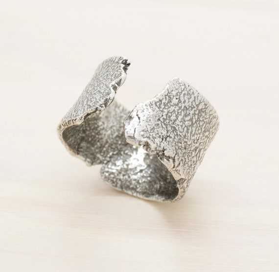 Handmade silver wide men's ring with texture, minimal  band men's open ring with melted texture