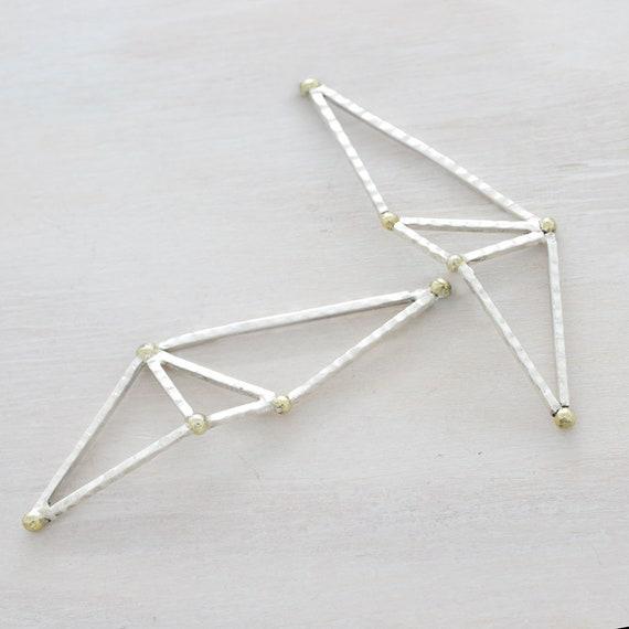 Handmade stud earrings with texture, minimal  earrings with golden spheres