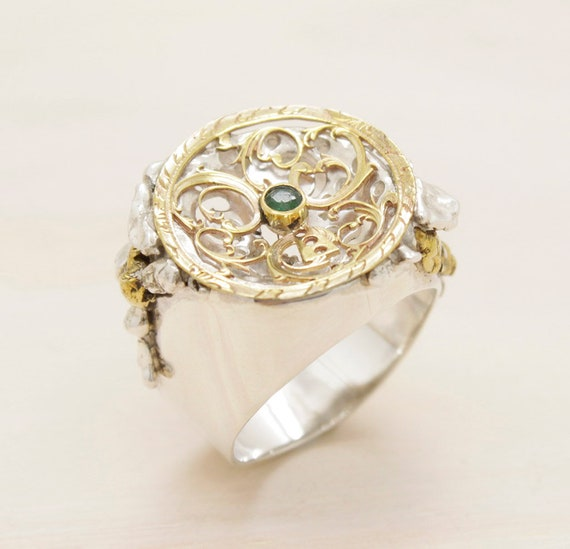 Handmade silver emerald ring with golden nuggets, vintage ring with vintage watch part