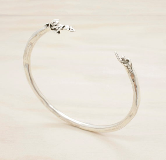 Handmade silver leaves bangle with texture and miniature figure, silver leaves bracelet with texture
