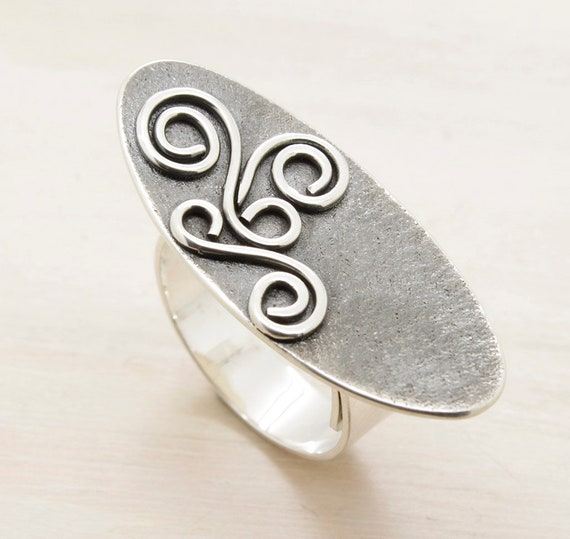 Handmade silver oval ring with filigree, aged minimal  ring with texture