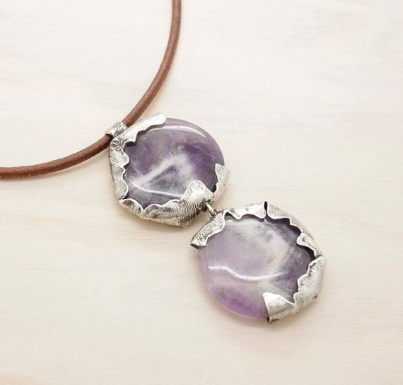 Handmade silver amethyst necklace with leather thread, purple gemstone necklace with texture