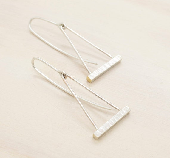 Handmade silver and golden minimal  earrings triangle pendant, silver bar dangle earrings with texture