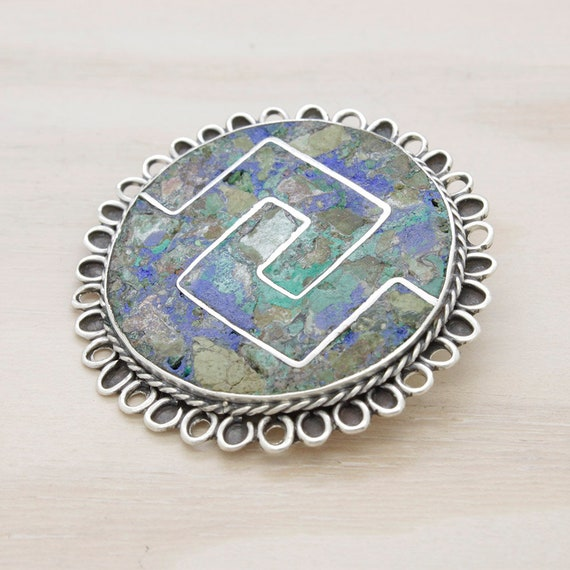 Vintage silver turquoise  Taxco brooch, vintage gemstones brooch made in silver from Mexico
