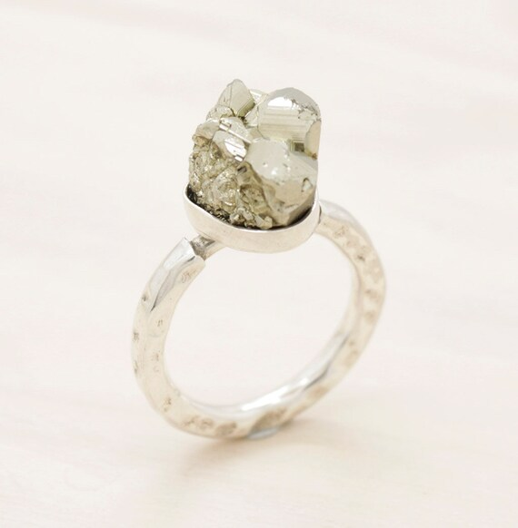 Handmade silver gemstone ring with texture, golden minimal  ring with pyrite
