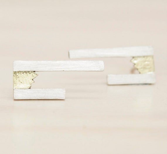 Gold Handmade silver minimal  stud earrings with gold, minimal  earrings with texture and 14k gold insert