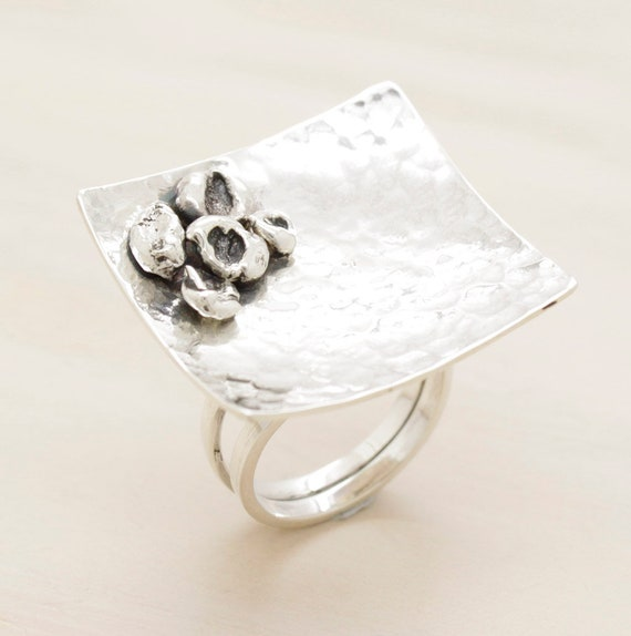Handmade silver square ring with texture and silver nuggets, oversize minimal  ring