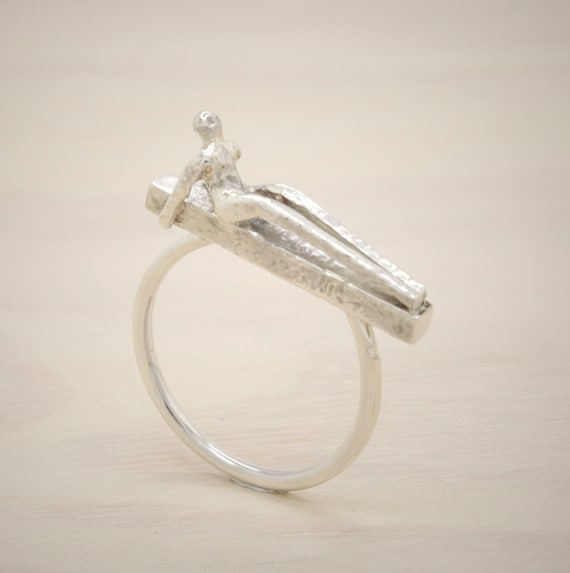 Handmade minimal  silver ring with texture and silver little man figure on it, bar ring Submanity collection
