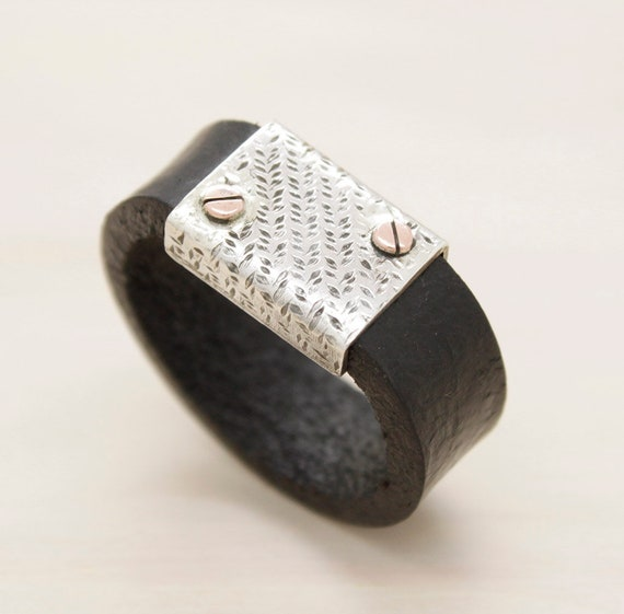Handmade silver men's ring with texture, minimal  man ring with screws and leather