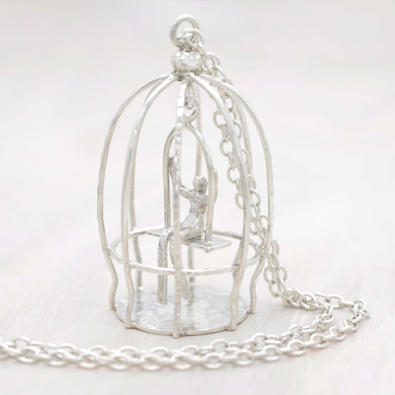 Handmade silver long necklace with long chain and bird cage pendant, long chain bird cage necklace with miniature, Submanity collection