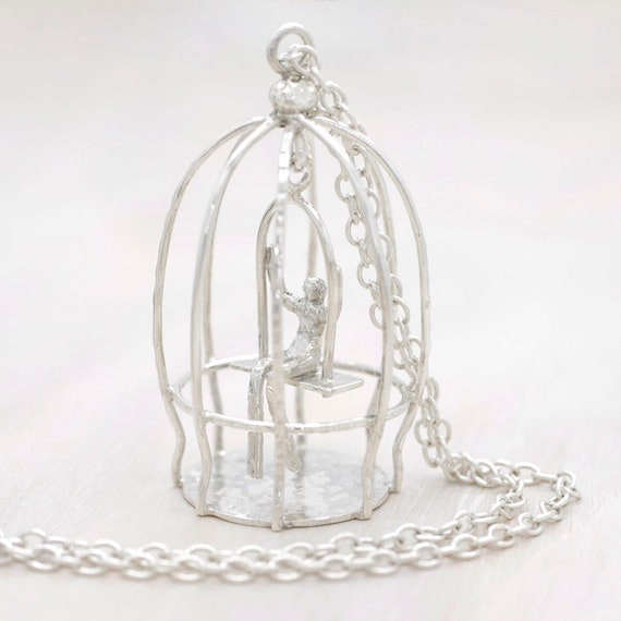 Handmade silver long necklace with long chain and bird cage pendant, long chain bird cage necklace with miniature, Humaniature collection