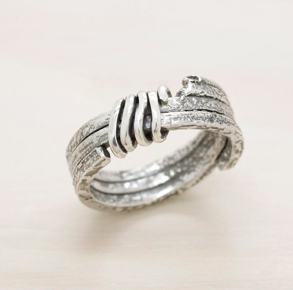 Handmade silver men's ring with texture, minimal  man  strong ring with melted texture