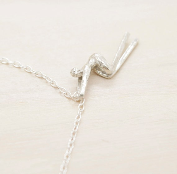 Handmade silver minimal  necklace with chain and texture, dainty necklace with miniature figure pendant, Humaniature collection