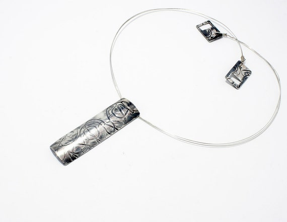 Handmade silver minimal  necklace with texture and patina, rectangular necklace with curly texture