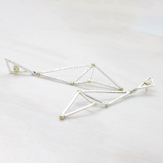 Handmade silver minimal  earrings with texture, geometric dangle earrings with texture and golden spheres