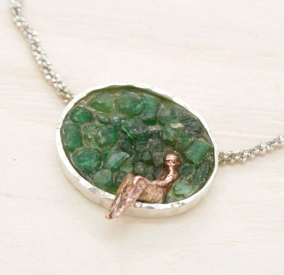 Handmade emerald necklace with chain and miniature figure, necklace withe texture and natural gemstones