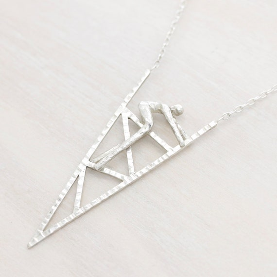Handmade silver minimal  necklace with chain, triangle necklace with texture and figure miniature, Humaniature collection