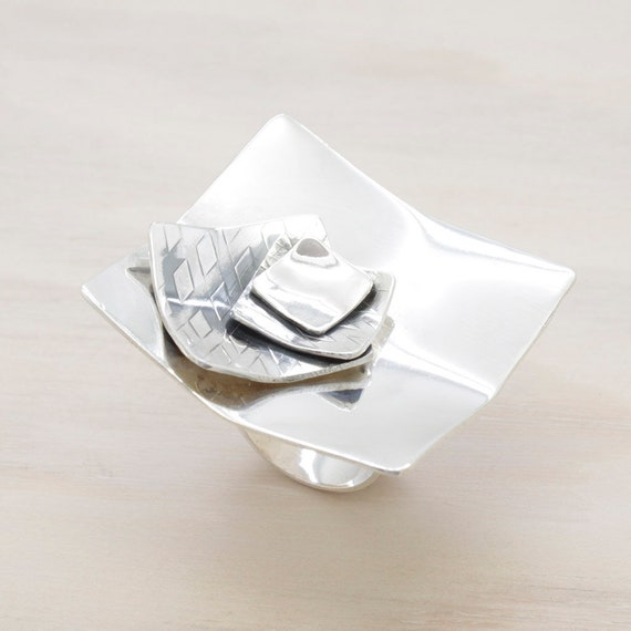 Handmade oversize silver square ring with texture, minimal  oversize ring