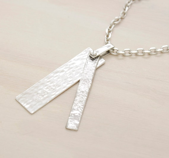 Handmade silver minimal  men's necklace with chain and texture, man necklace with custom engraved