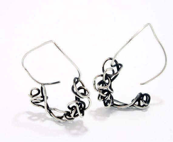 Handmade silver curly thread hoops, thread earrings with texture and patina