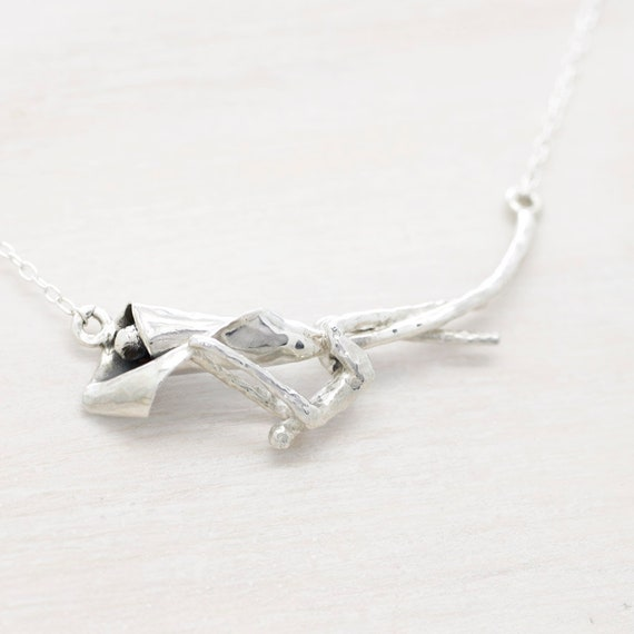 Handmade silver lily flower necklace with chain, dainty necklace with texture and miniature figure, Submanity collection