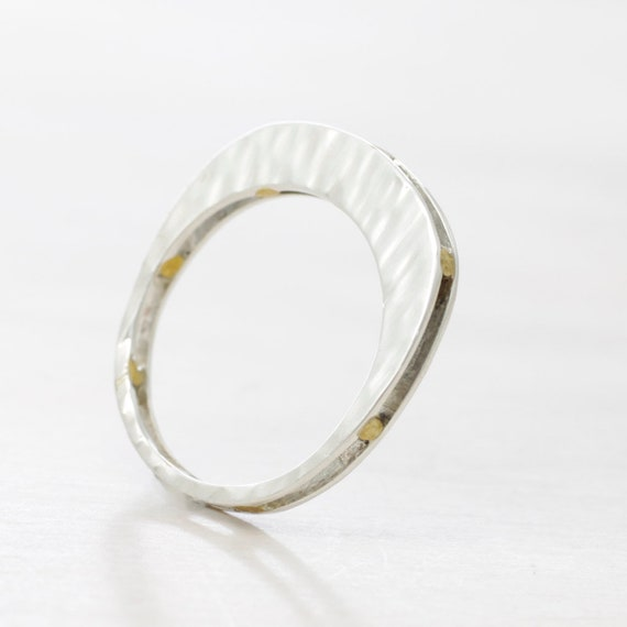 Gold handmade silver minimal  ring with gold bars, dainty ring with texture and 14k gold