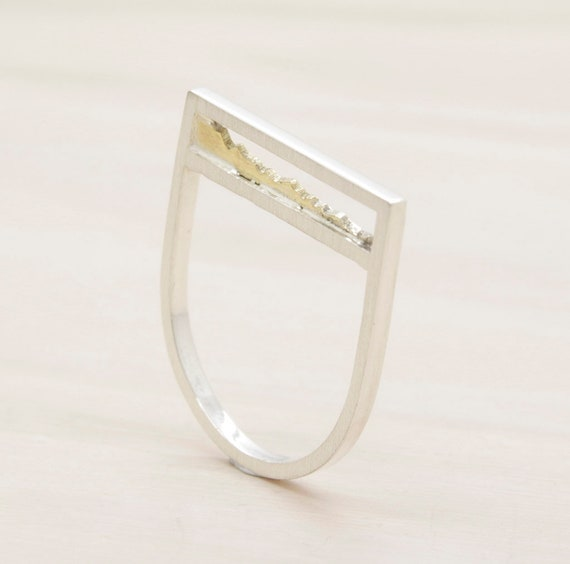 Gold and silver handmade minimal  ring with gold insert, bar ring with texture and 14k gold