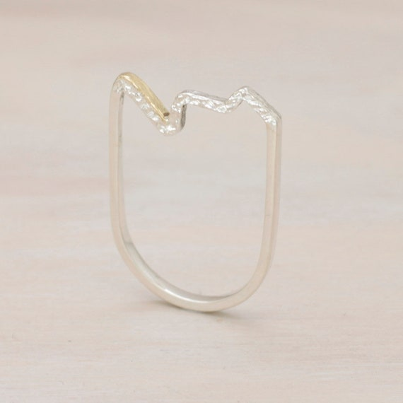 Handmade silver minimal zig zag ring with texture, artisanal design ring with golden detail
