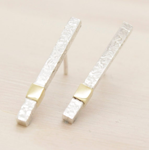 Gold handmade minimal   stud earrings with gold, bar minimal  earrings with texture and 14k gold
