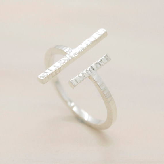 Handmade minimal  silver ring with texture, double bar silver ring