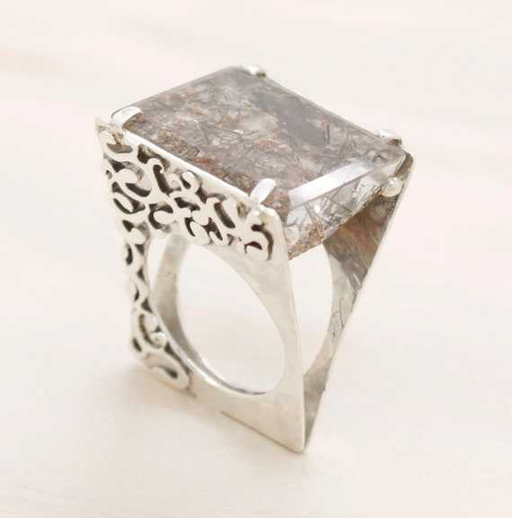 Handmade silver lodolite ring with texture, special quartz triangular ring