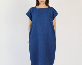 Linen Dress with Square Neckline - Royal Blue