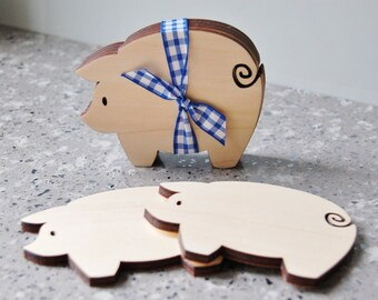 Wooden Pig Coasters (Set of 4)