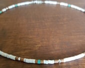 Natural Handcut Turquoise, Karen Hill Tribe Silver Shell, and Serpentine Heishi Necklace, Thin Minimalist, Native American Inspired
