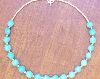 Sterling Silver Bezel Turquoise Karen Hill Tribe Silver Turquoise Bezel Minimalist Coral Shell Heishi Thin Turquoise Beaded Bracelet