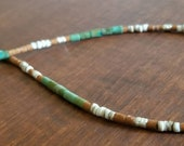 Natural Green Handcut Turquoise, Karen Hill Tribe Silver, Shell, and Serpentine Heishi Necklace, Thin Minimalist, Native American Inspired