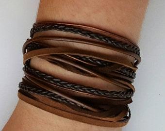 Boho Leather Wrap Bracelet, Multistrand Bracelet, Layered Leather Bangle, Brown Leather Suede Bracelet, Double or Quadruple Wrap